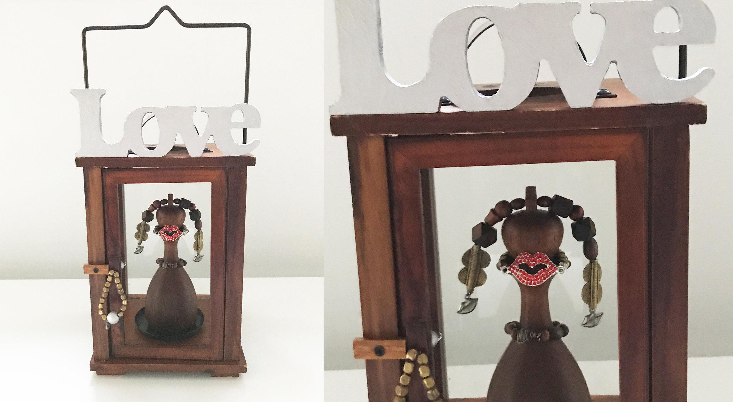 "Love lantern, Wood, Bronze, Iron, Stones, 16.7"" x 7"" x 7"""