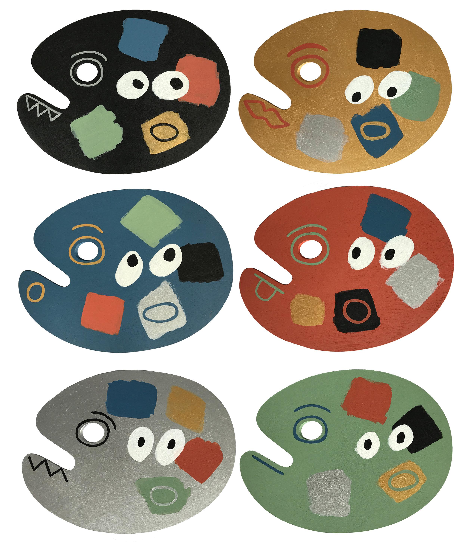 "6 Artist's Palettes Acrylic on Wood, 16"" x 12"" x 0,2"""