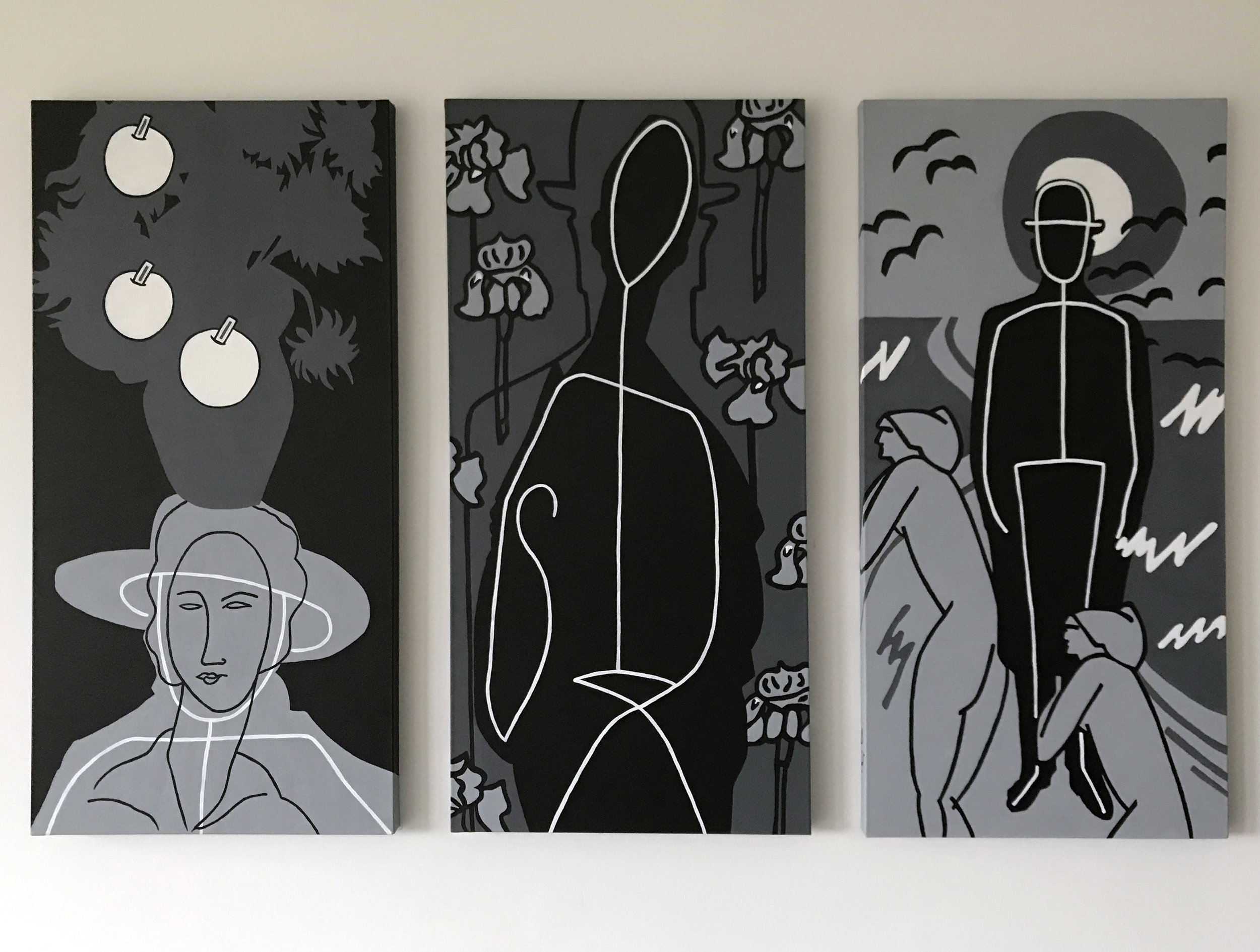 """Trilogy, tribute to Modigliani, Magritte and Van Gogh, 3 x 40"""" x 20"""", Acrylic on canvas"""