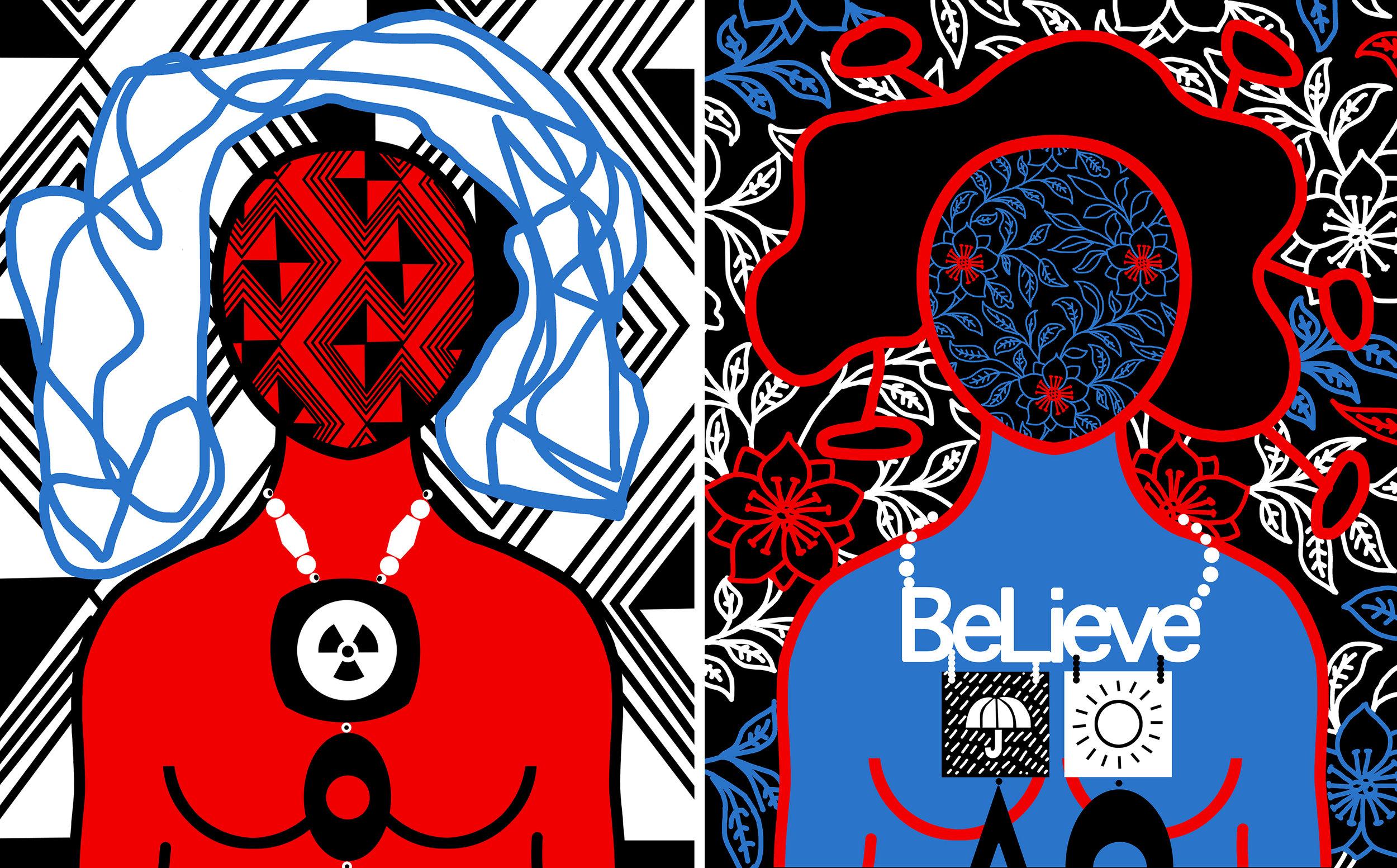 "Printed on fine art paper 20"" x 16"" Be careful radio activity,  20"" x 16"" Believe"