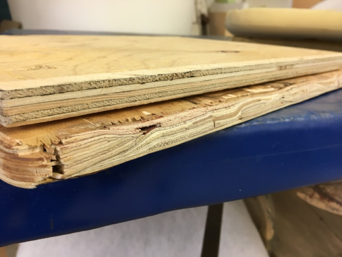 """Canadian 3/4"""" plywood only has 6 layers. Can you count how many the cheap import has?"""
