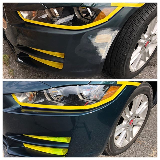 Bumper Refinishing. #jaguarxe #bumperrefinishing #bumperholerrepair #BumperScratch #BumperReplacement #smartrepair #paintlessdentdoctor #bumperdentrepair #bumperpainting #baltimorebumperrepainting