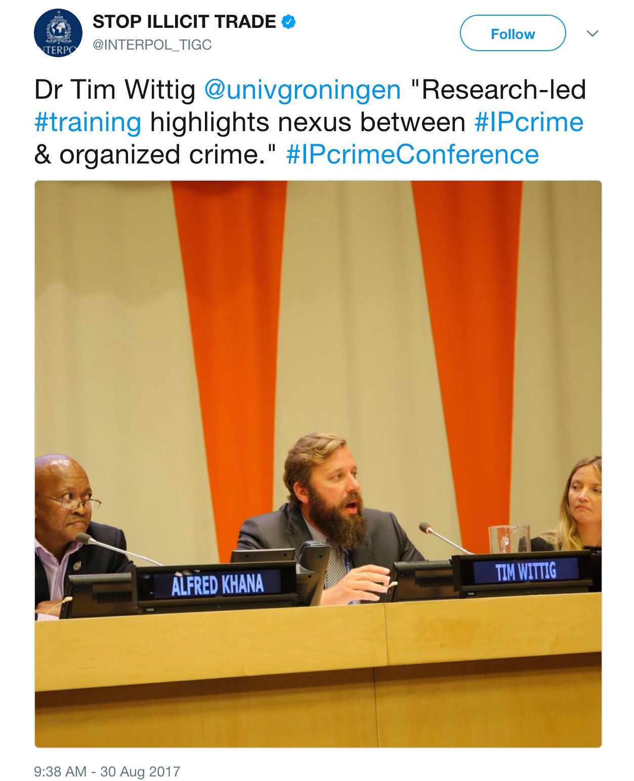 Panel at the United Nations in New York discussing Groningen's Illicit Trade Summer School as a model for research-led training.