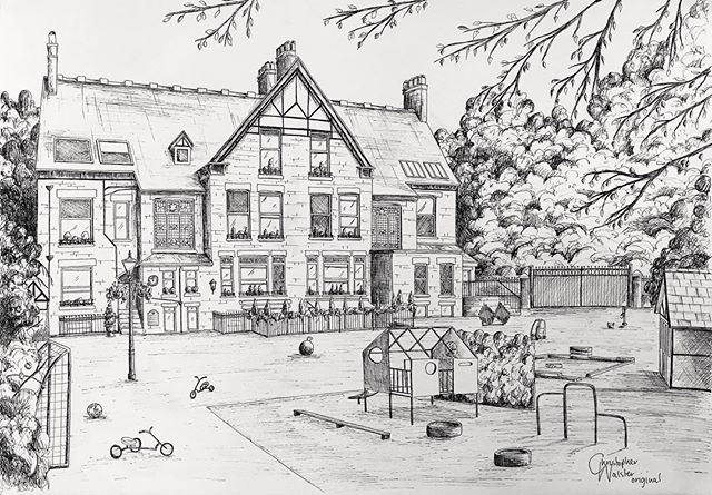 To celebrate 50 years, since opening in 1968, talented local artist, Christopher Walster, has created this marvellous drawing of Oakfield Nursery School.  Thank you very much @christopherwalster! ------------- #localartist #altrincham #cheshire #altrinchamtoday #oakfieldnurseryschool #architecture #illustration #architectureillustration #cheshireart #manchesterart #manchesterartist