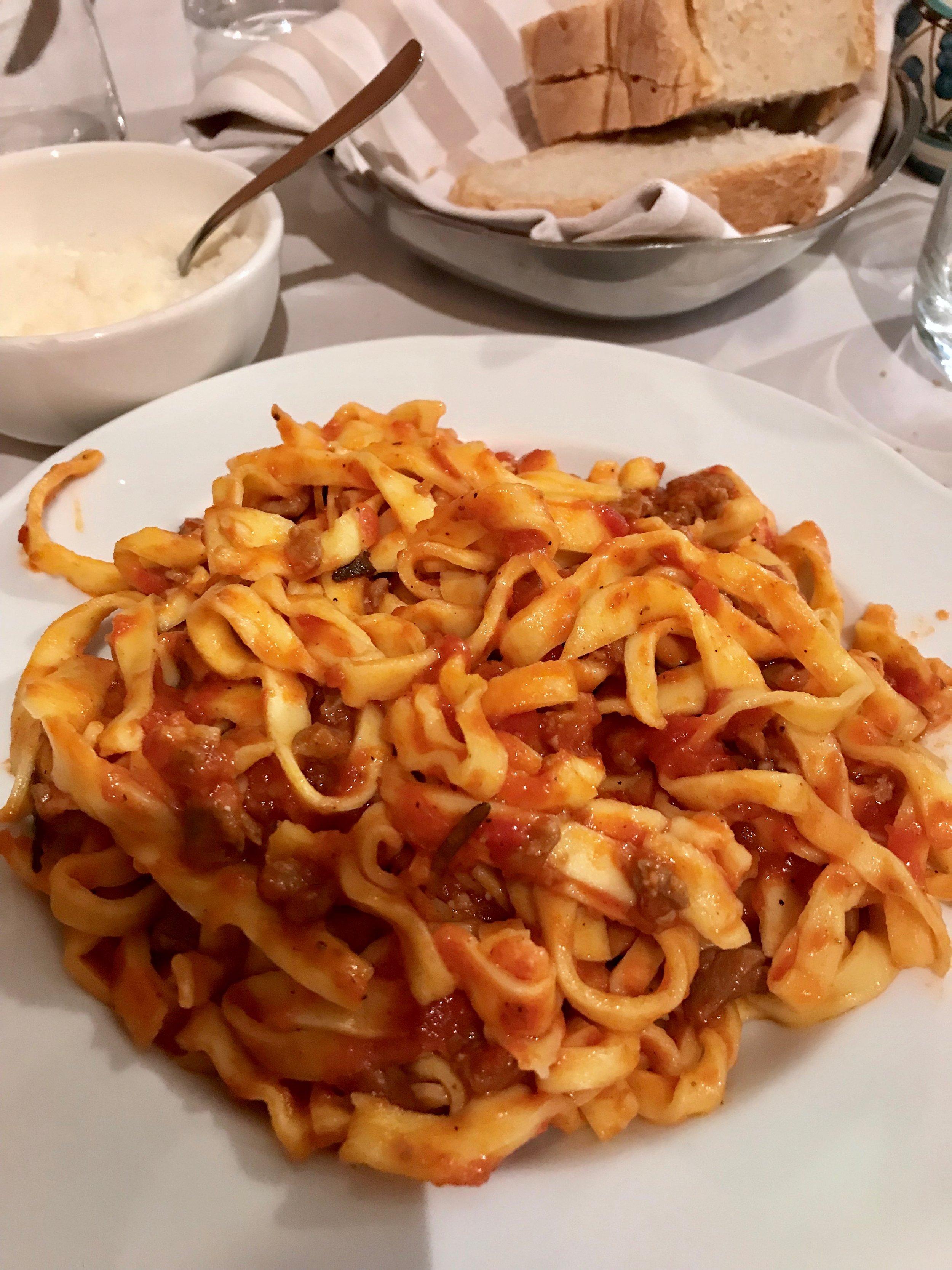 Handmade pasta with lamb ragu