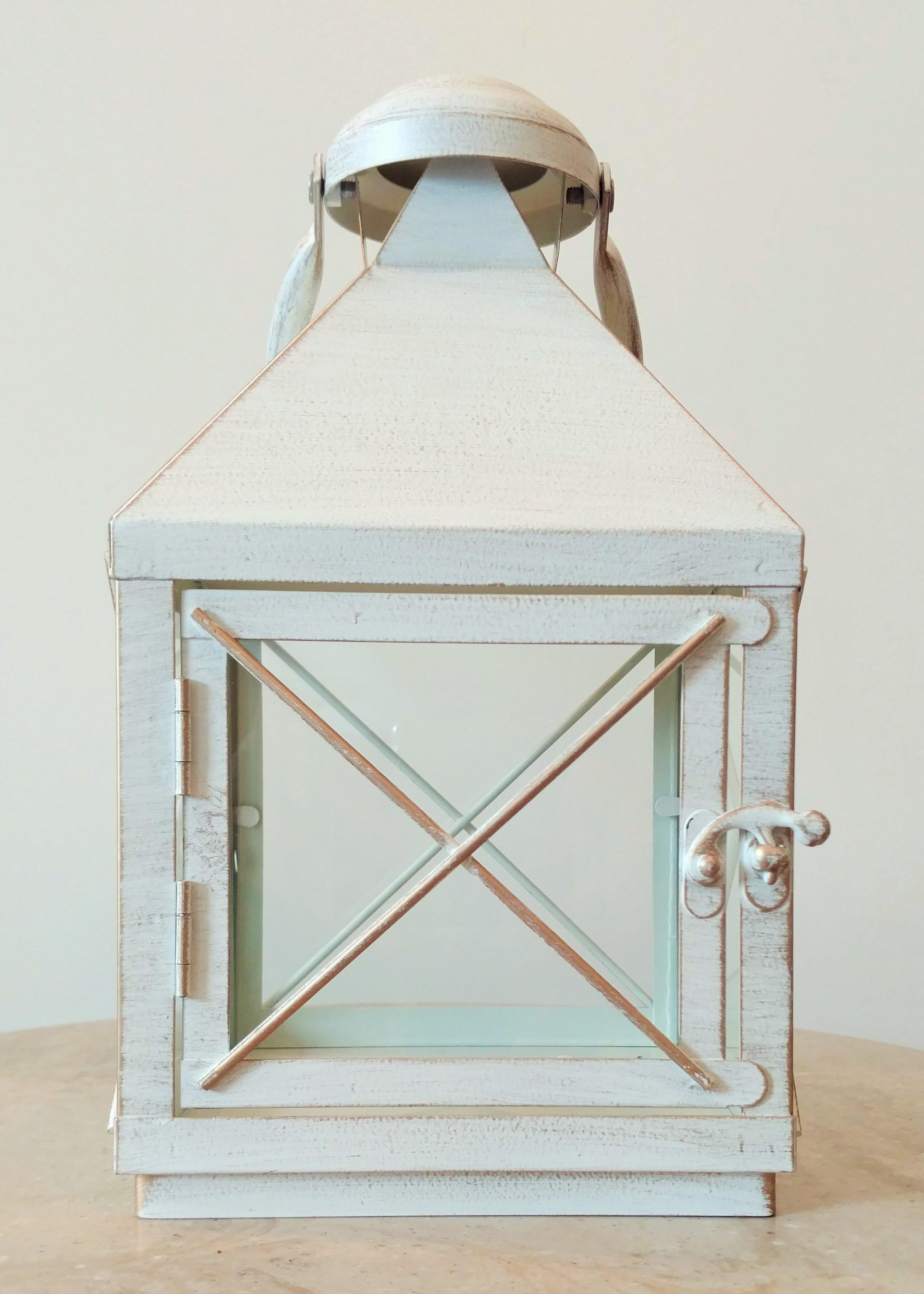 "11"" White Square Lantern"