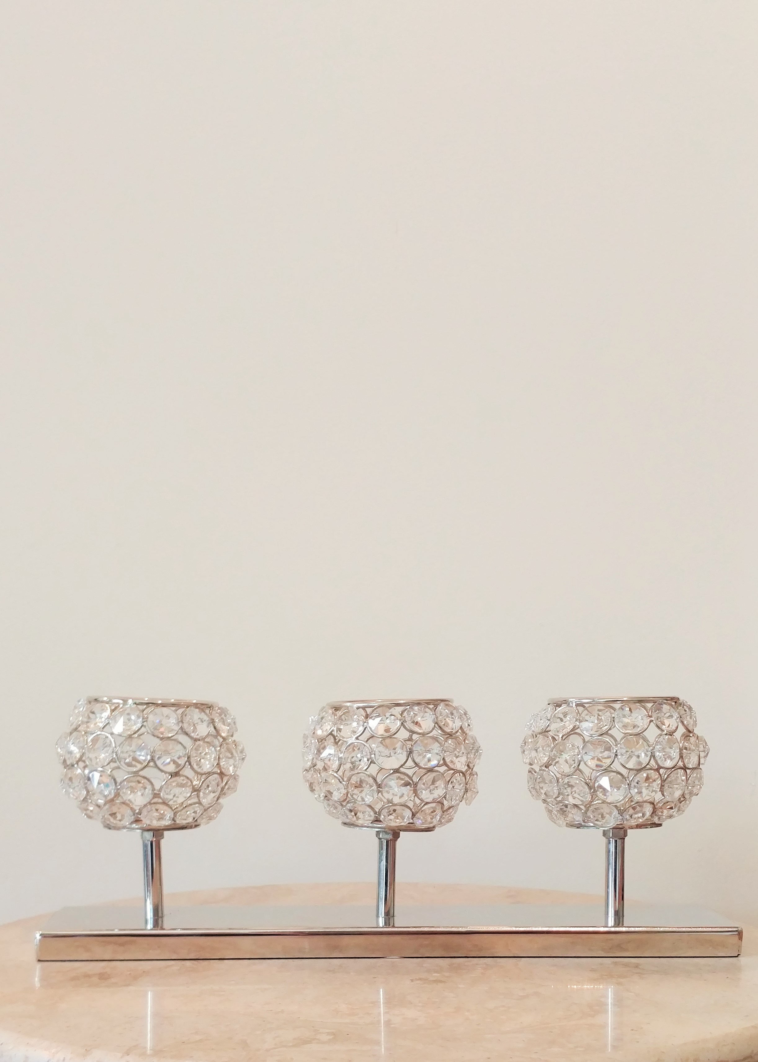 """5"""" Set of 3 Crystal Candle Holders"""
