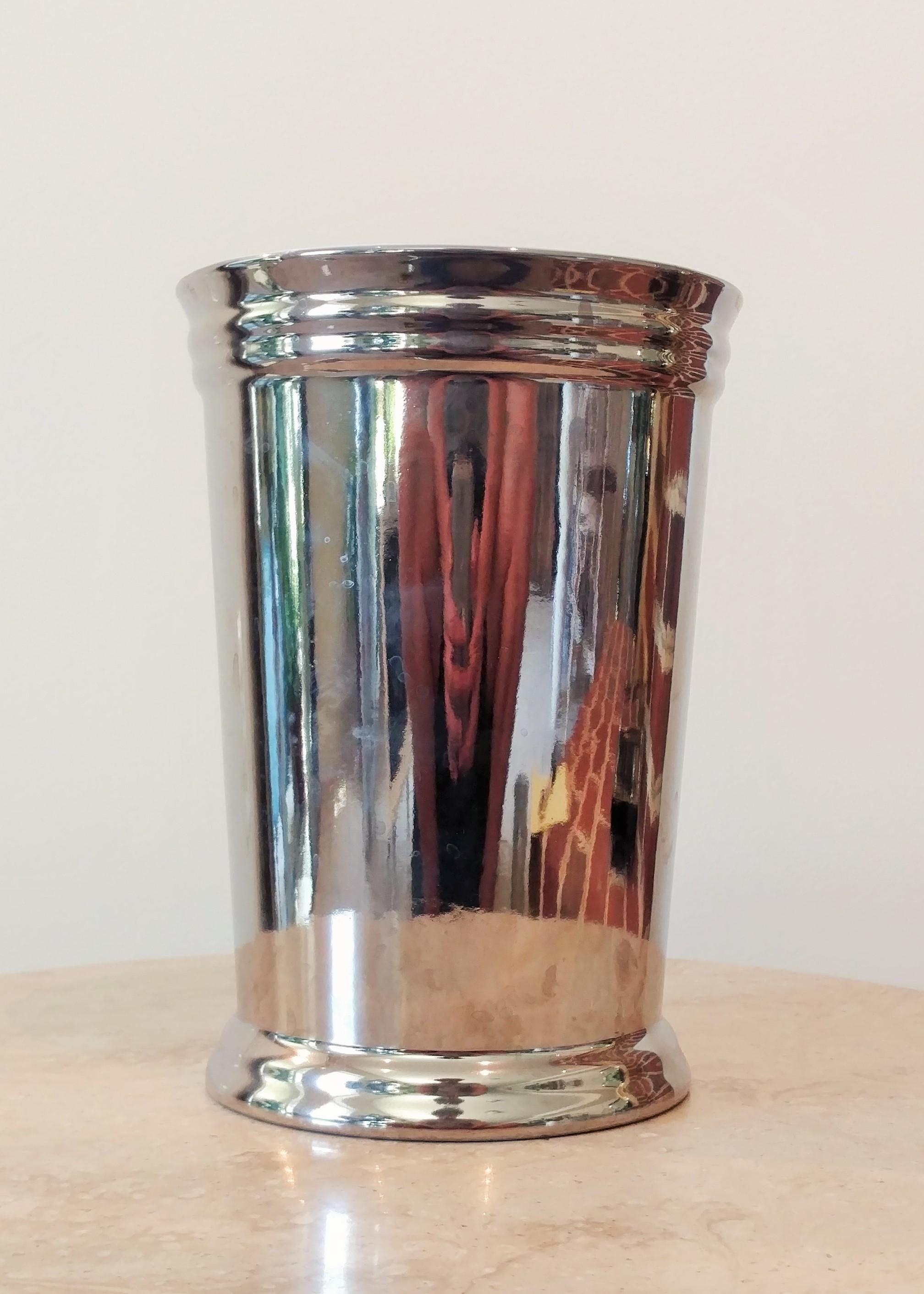 """8.5"""" Metallic Ceramic Vase (3.5"""" Diameter)"""