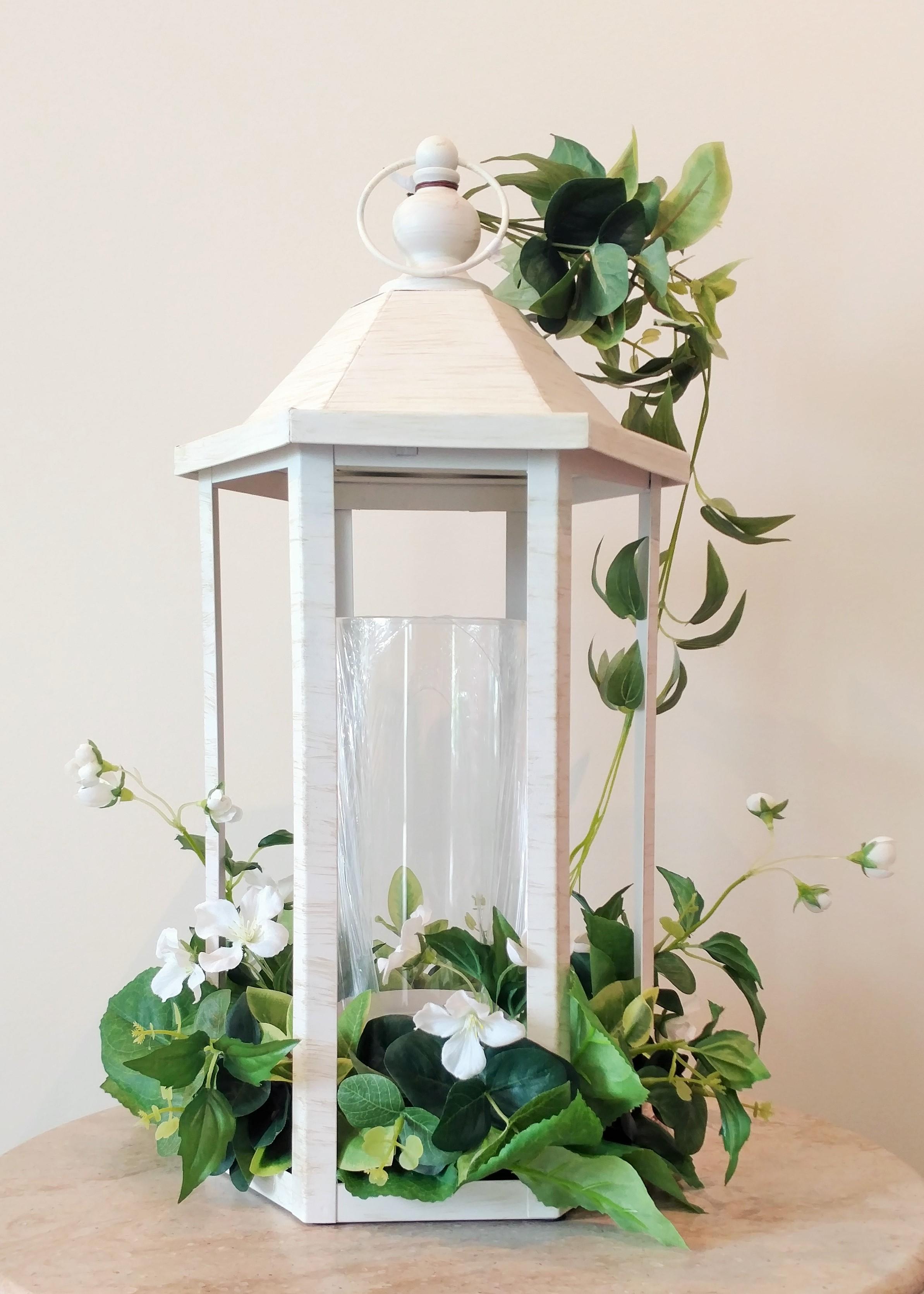 "18.5"" White Lantern with Ivy Greenery"