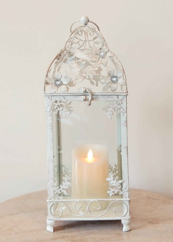 "16"" Decorative White Lantern"
