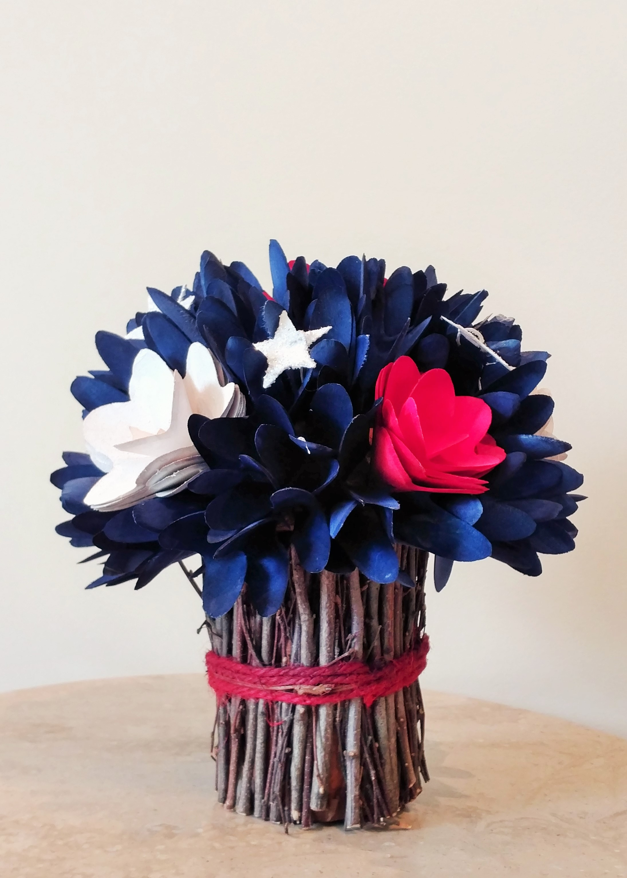 """9"""" Table Centerpiece with Red, White, and Blue Silk Flowers"""