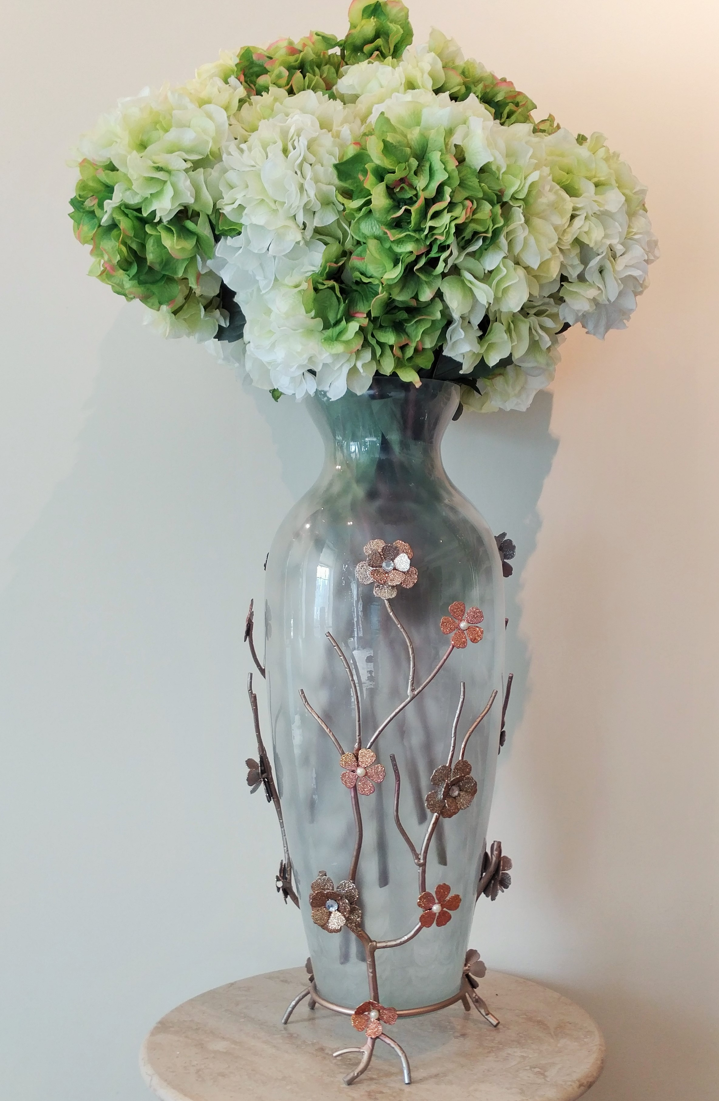 """37"""" Glass Vase With Decorative Metal Stand and Silk Flowers"""
