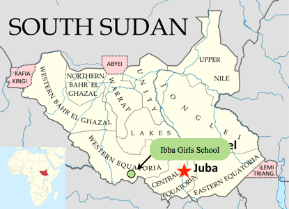 Ibba on map of South Sudan