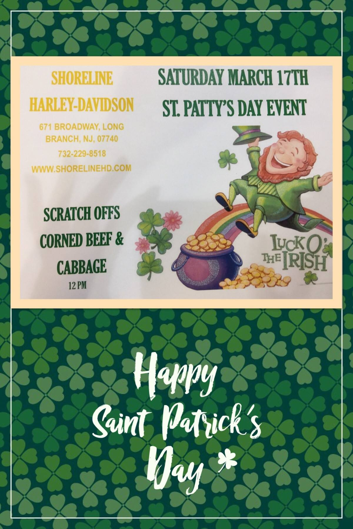 🍀 SAVE THE DATE!! 🍀 Saturday March 17th is our St.Paddy's Day Event!! We will be serving corned beef & cabbage, along with scratch offs to save you the most of your 💵!! Wear green with us & GET YOUR IRISH ON!