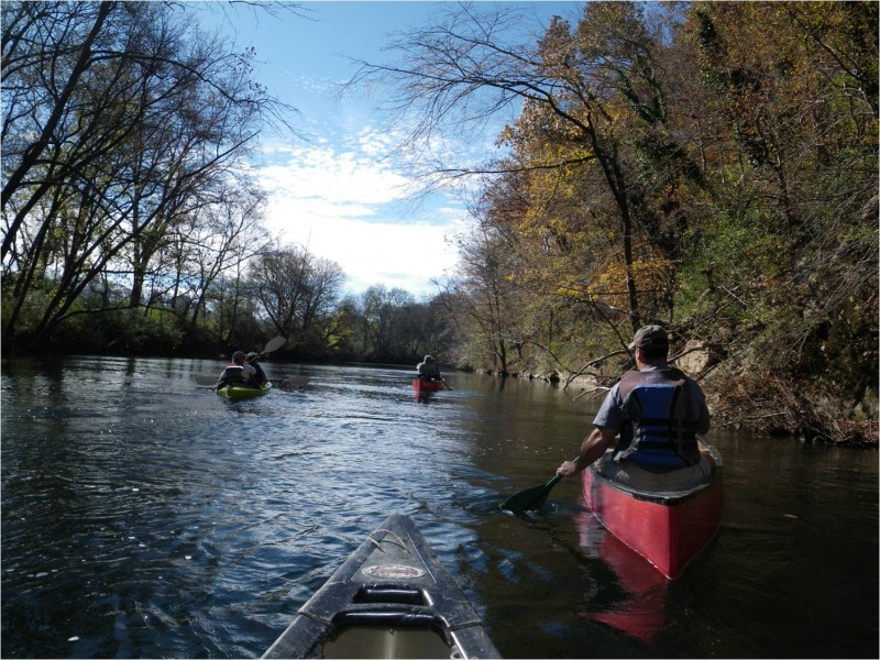 Some board members enjoying a gentle float down the Little River in the fall -