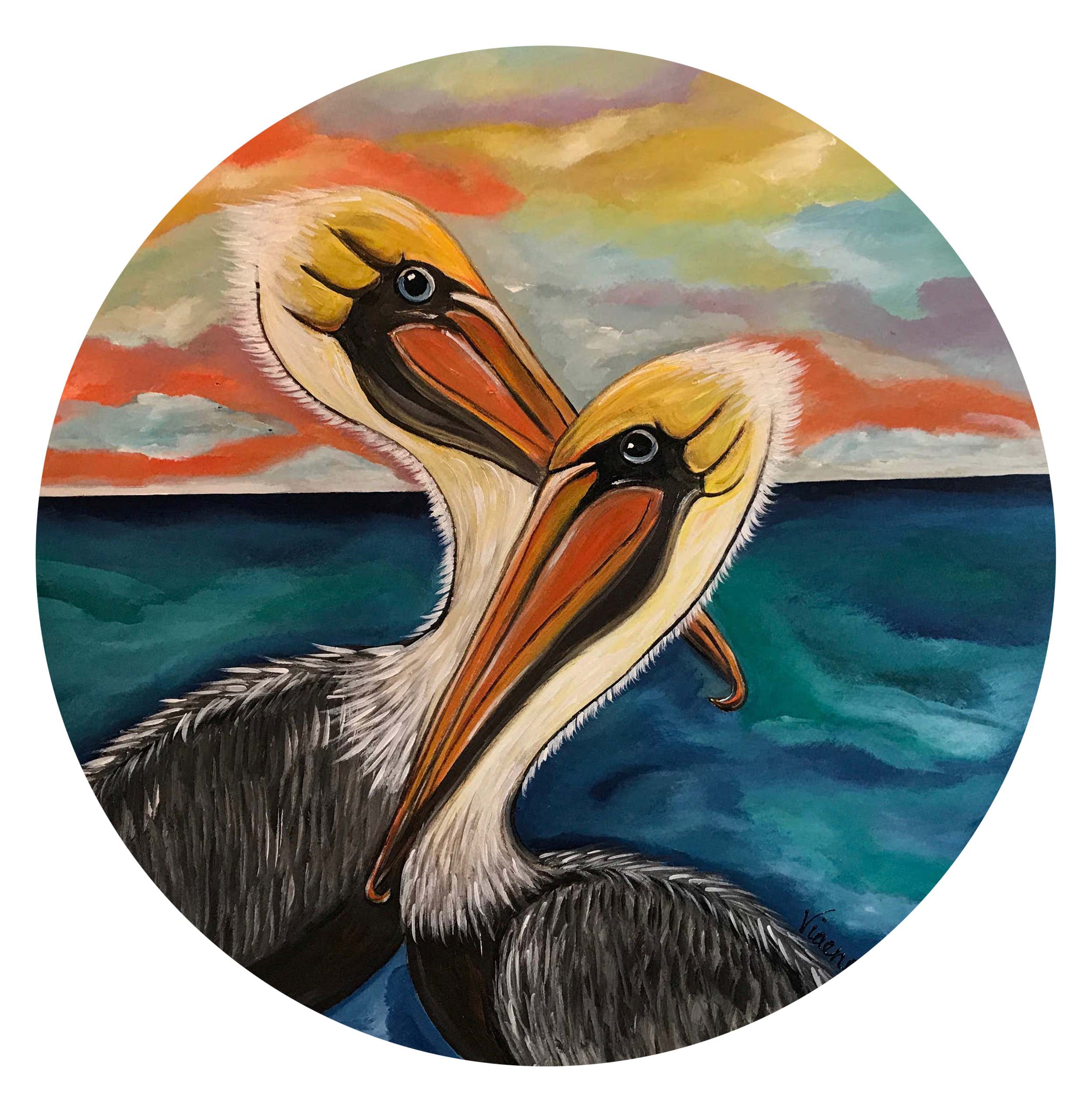 Sunset Pelicans - 201824 inch diameteracrylic on wood