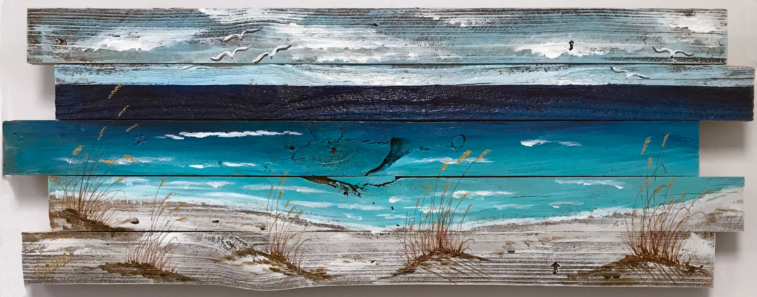 At the Beach - 201824x48 inchesacrylic on reclaimed fence board