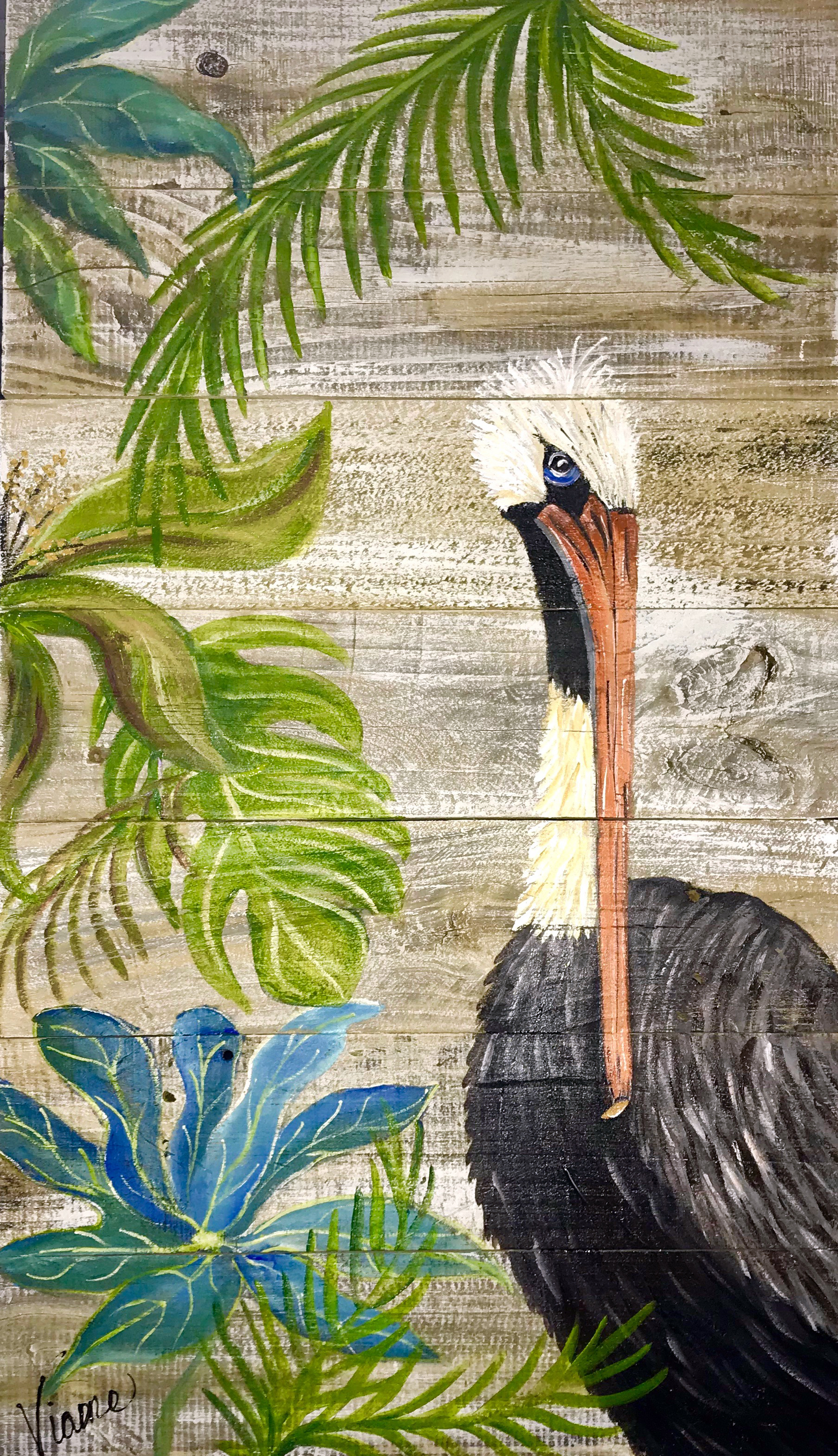 Pelican with Attitude - 201824x48 inchesacrylic on reclaimed fence board
