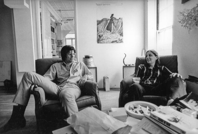 Nancy Holt and Robert Smithson at their West Village loft, New York City, 1970. Photograph: Gianfranco Gorgoni. Courtesy: Holt/Smithson Foundation