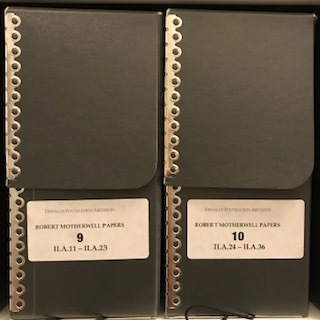 Archival boxes in Dedalus Foundation Archive, photo credit Kathy Battista