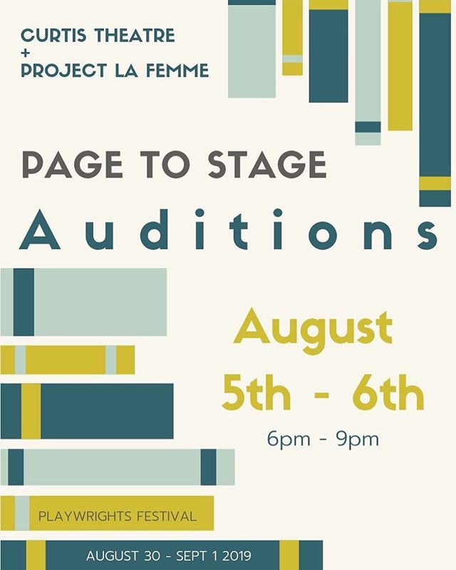 ACTORS! Want to work with us? Come be a part of 5 new & exciting local Playwrights when we have auditions for the Page to Stage Festival at the @curtis_theatre! Check our website for info about audition sides or the Facebook event Curtis Theatre created. Character breakdown coming soon. 🎭