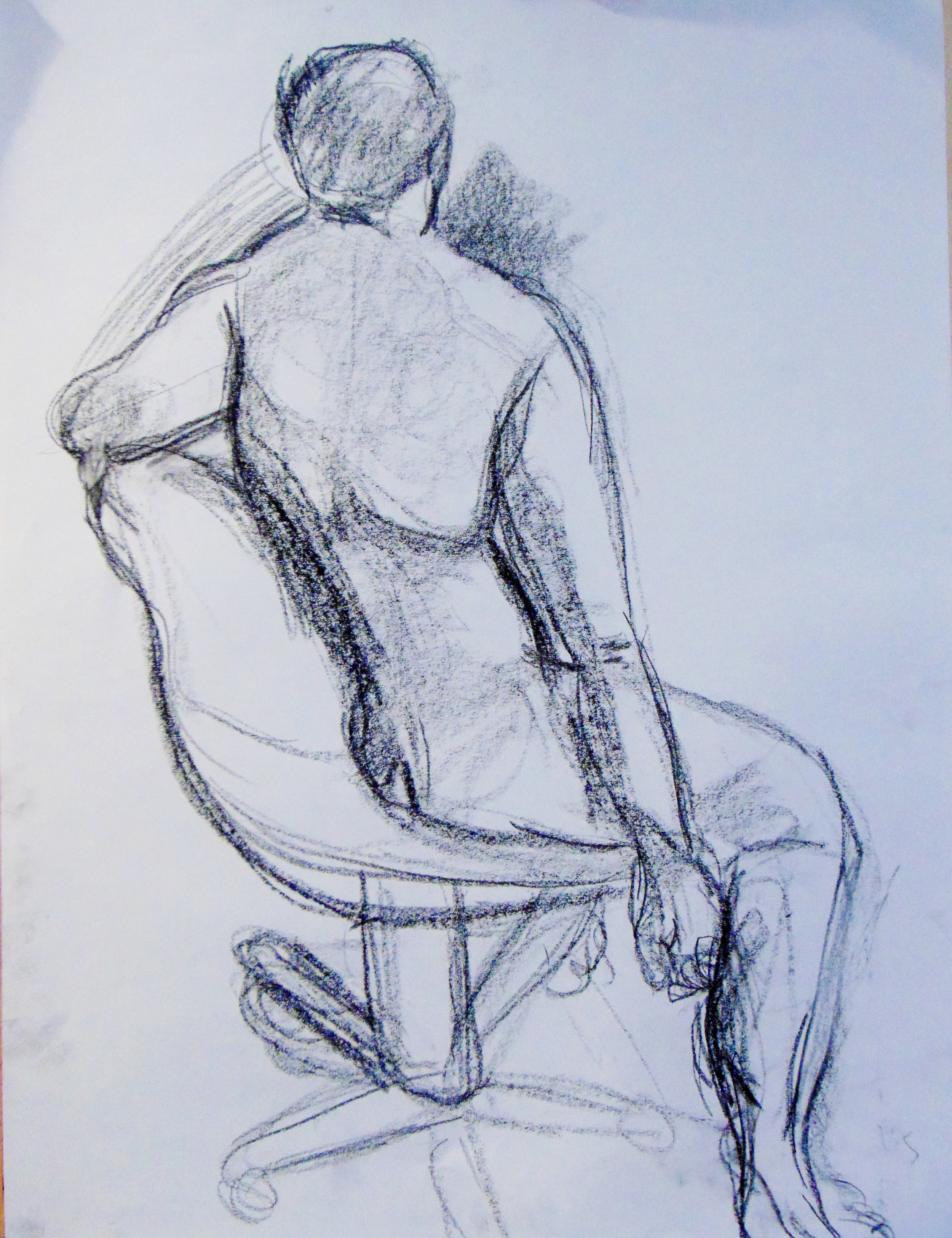 """""""Chair's Caress"""", charcoal on 16x20"""" paper. My model, Alex has great broad shoulders that exhibit well-defined scapula which lend to the pure loveliness of this pose."""