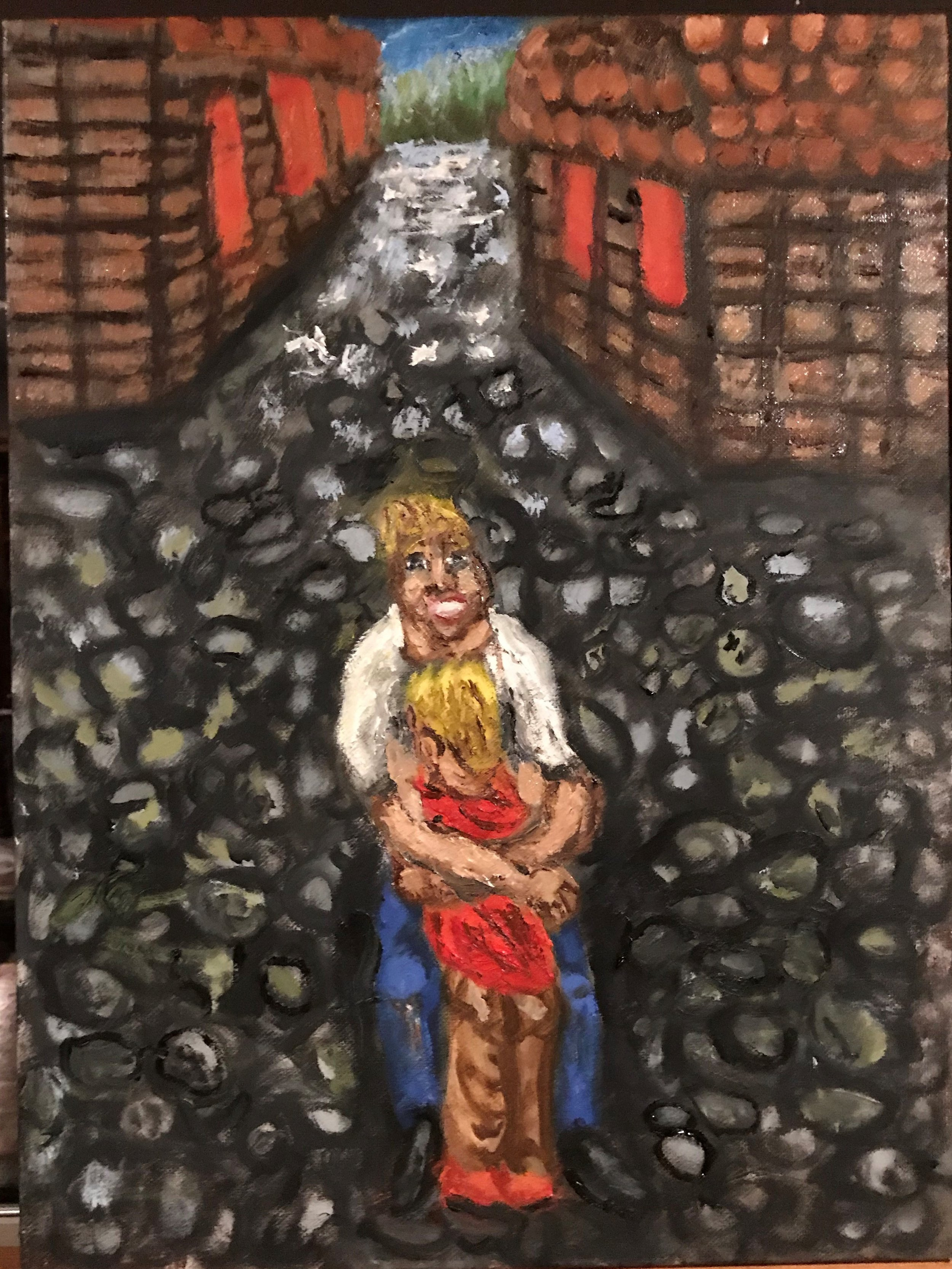 """""""Shy"""" Oil Painting on 12x16"""" canvas. Many children go through a shy phase in their lives where they have adverse reactions to engaging with other people and seek the familiarity and security of their parents. Parents often struggle as they desire to socialize their children and prepare them for a world full of social opportunities"""