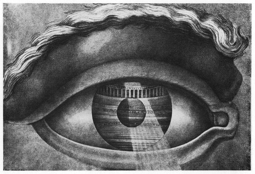 Interior of the municipal theatre of Besançon (built by Ledoux in 1784), seen in the mirror of an eye.