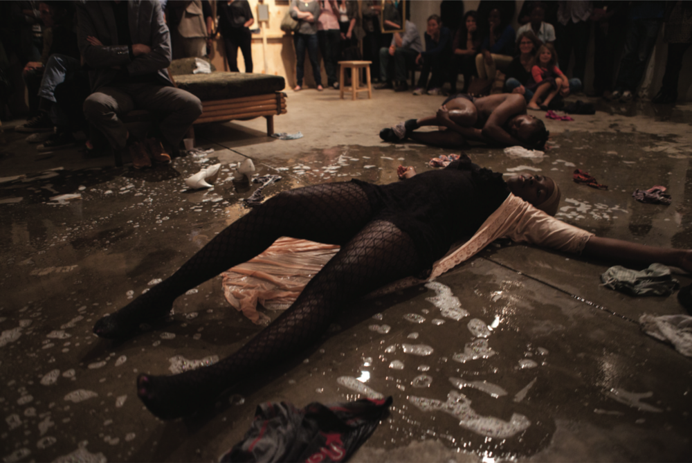 Documentation from Syowia Kyambi's  Between Us  performed at GoDown Art Centre, Nairobi, 2013 - 2014, mixed media installation, performance, photography, sound and video, size variable