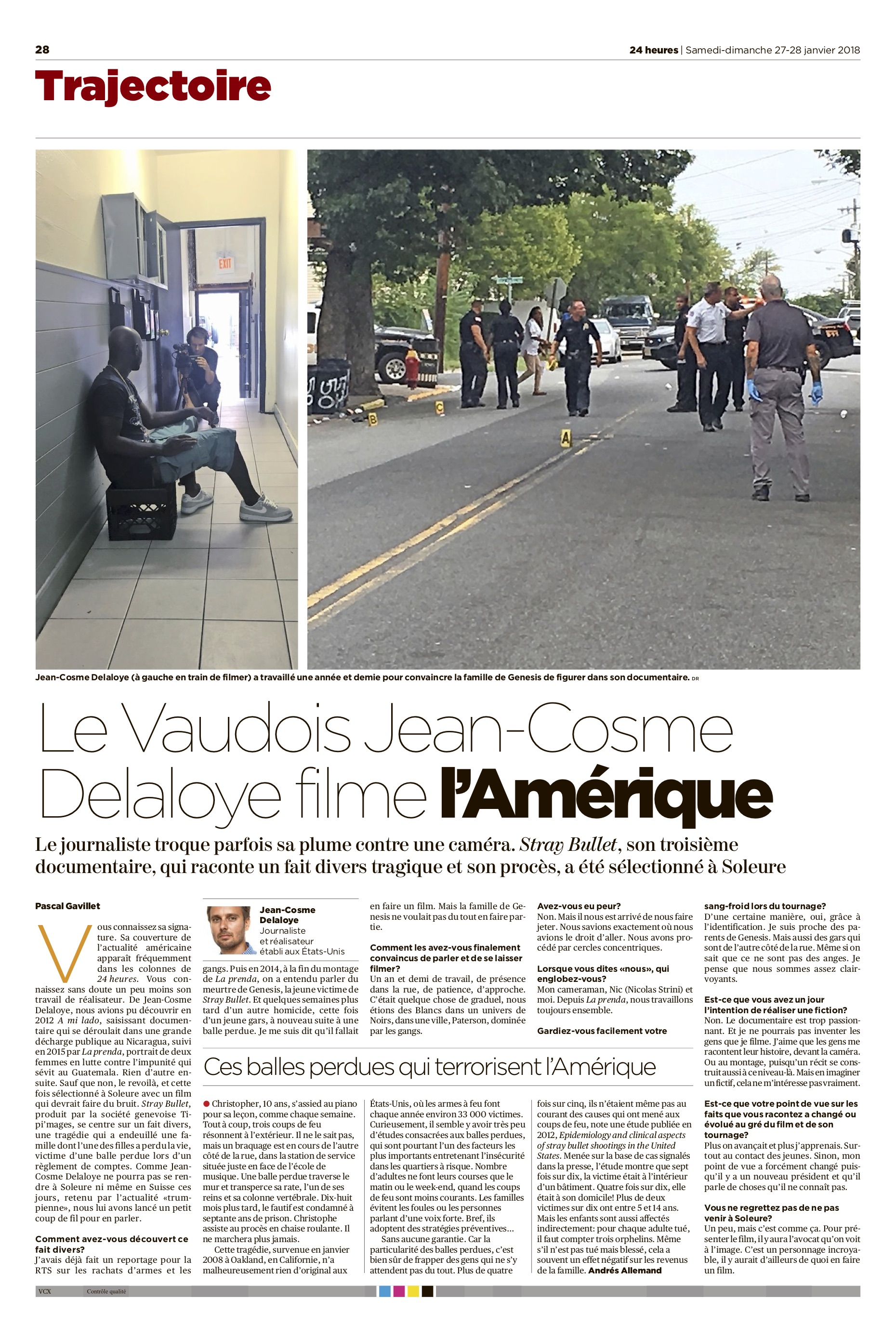 Page from 24 Heures on January 27, 2018.