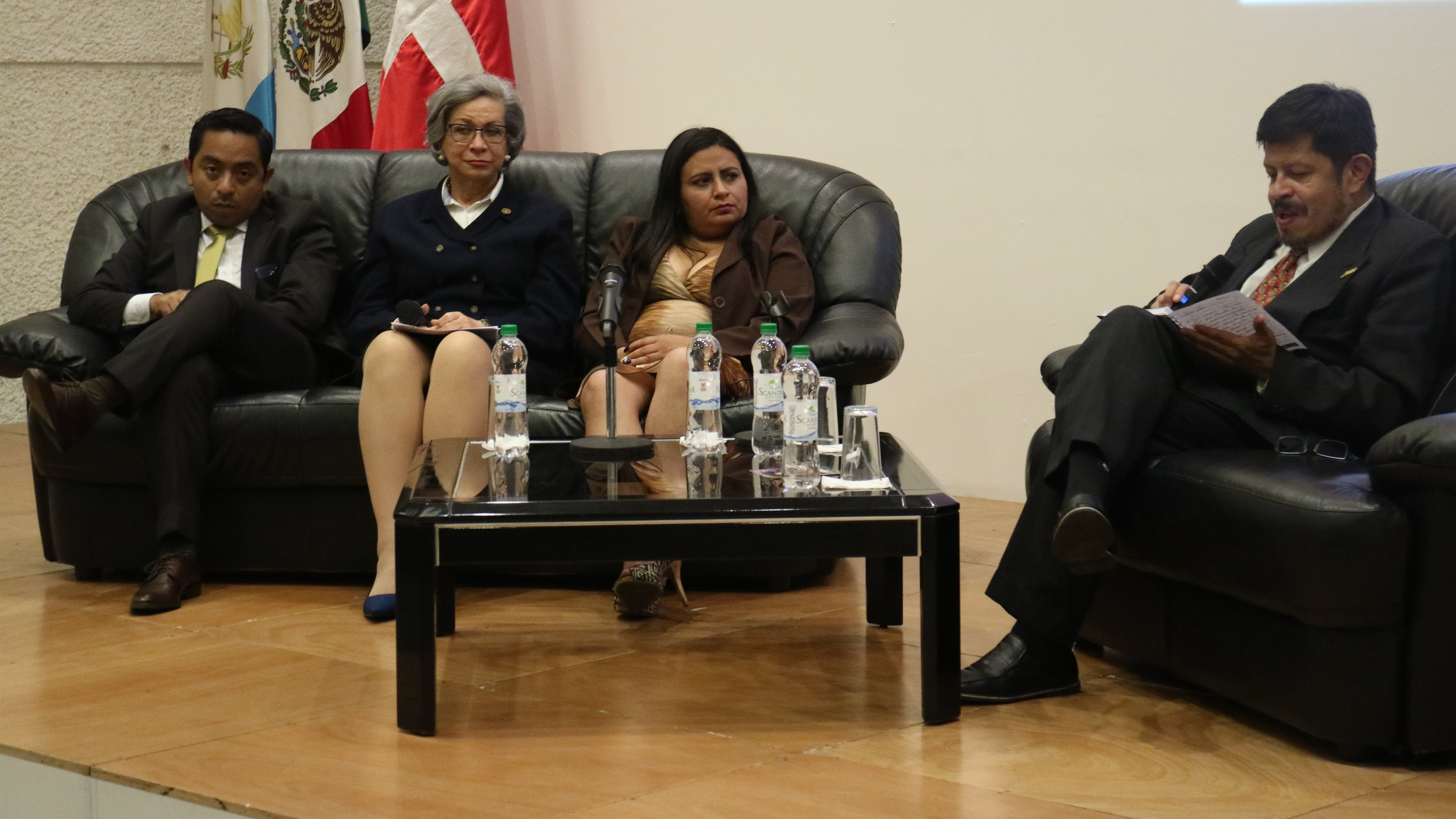Supreme Court judge Maria Eugenia Morales Aceña at the Q&A for LA PRENDA with Sobrevivientes lawyer Rodolfo Diaz and Karin Gramajo Lopez. Guatemala City, April 19, 2018.