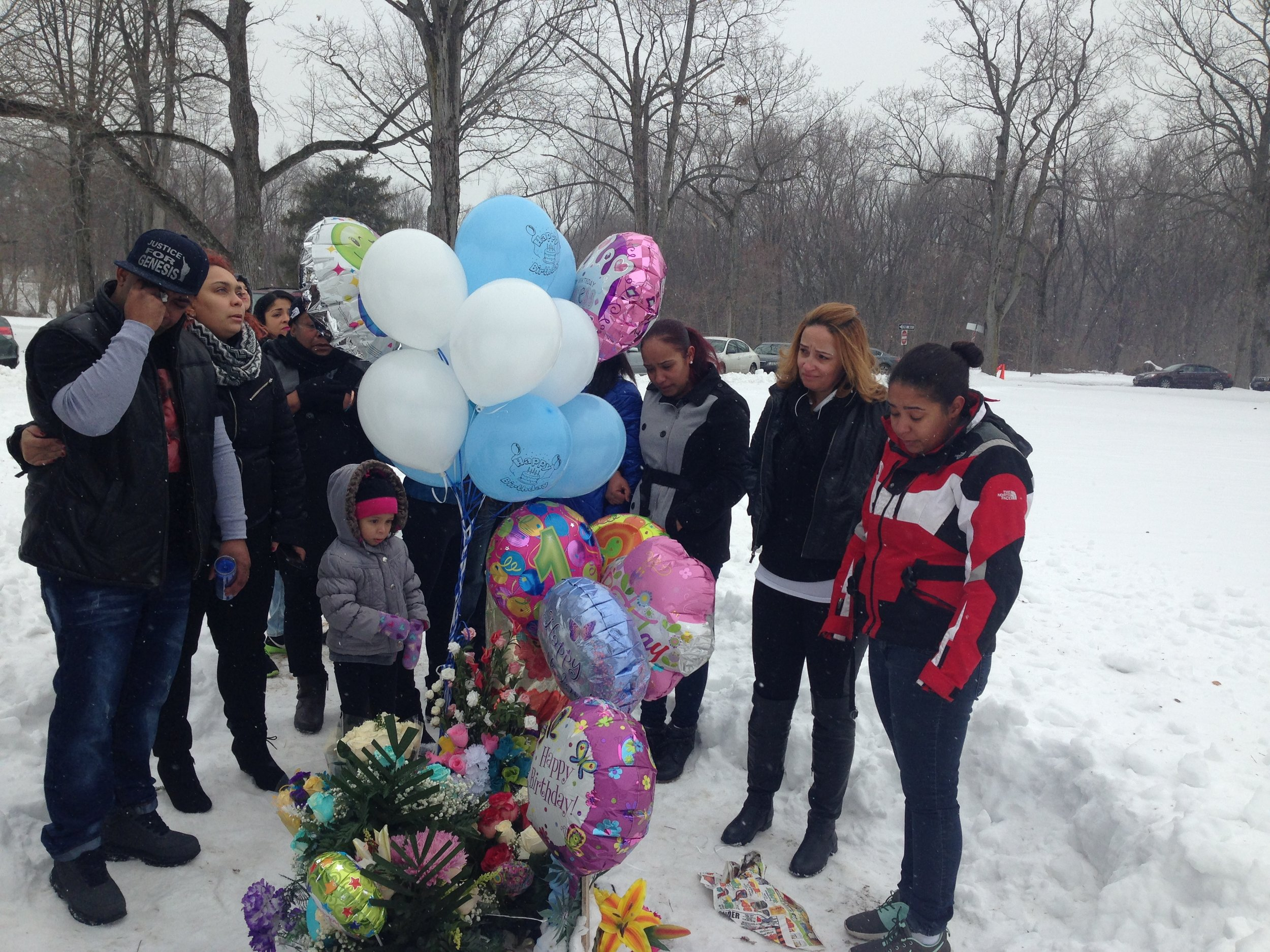 The family of 12-year-old Genesis Rincon celebrating her birthday a few months after her death. Scene from Stray Bullet.
