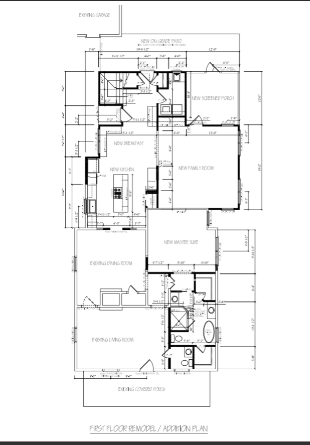 First floor plans. Most of the walls are moving, and an extra 500 or so square feet is being added on from the existing dining room back.