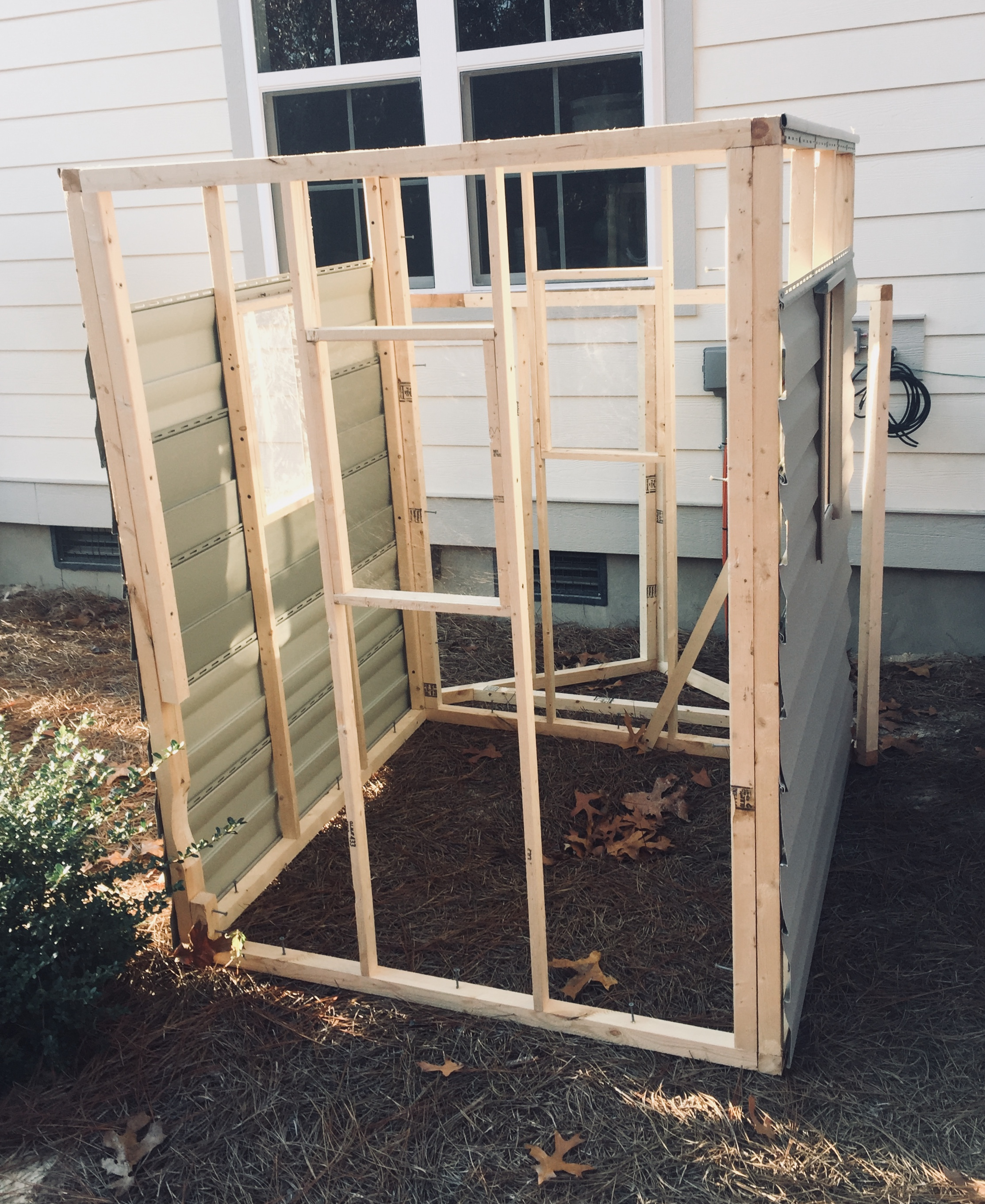 The beginnings of a tree-house frame, built by my husband and son, one nail at a time. I can't wait to see the finished product.