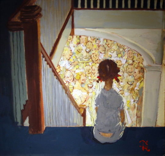 Little Girl Looking Downstairs at Christmas Party - Norman Rockwell, 1964
