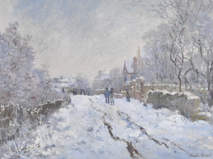 Snow Scene at Argenteuil  -Claude Monet, 1875