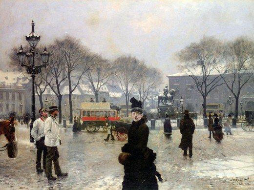 A Winter's Day on Kongens Nytorv Copenhagen - Paul Gustave Fischer,