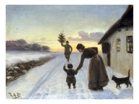 The Arrival of the Christmas Tree - Hans Anderson Brendekilde, 1857-1920