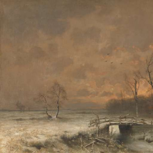 Winter Scene with the Sun Setting Behind the Trees - Louis Apol, 1880-1930
