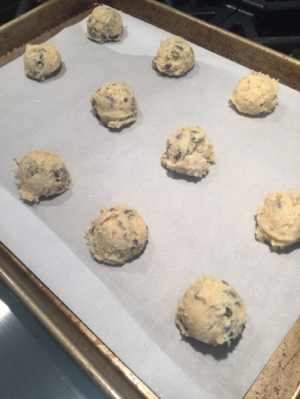 Lightly misted cookie dough.