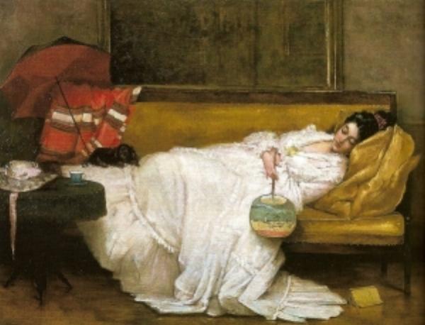 Girl in White Dress Resting on a Sofa  - Alfred Emile Leopold Stevens