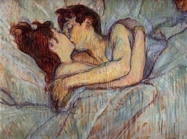 In Bed, The Kiss - Henri de Toulouse-Lautrec, 1892