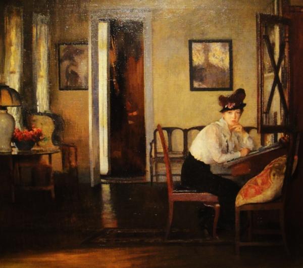 Girl Writing  - Edmund Charles Tarbell - 1917