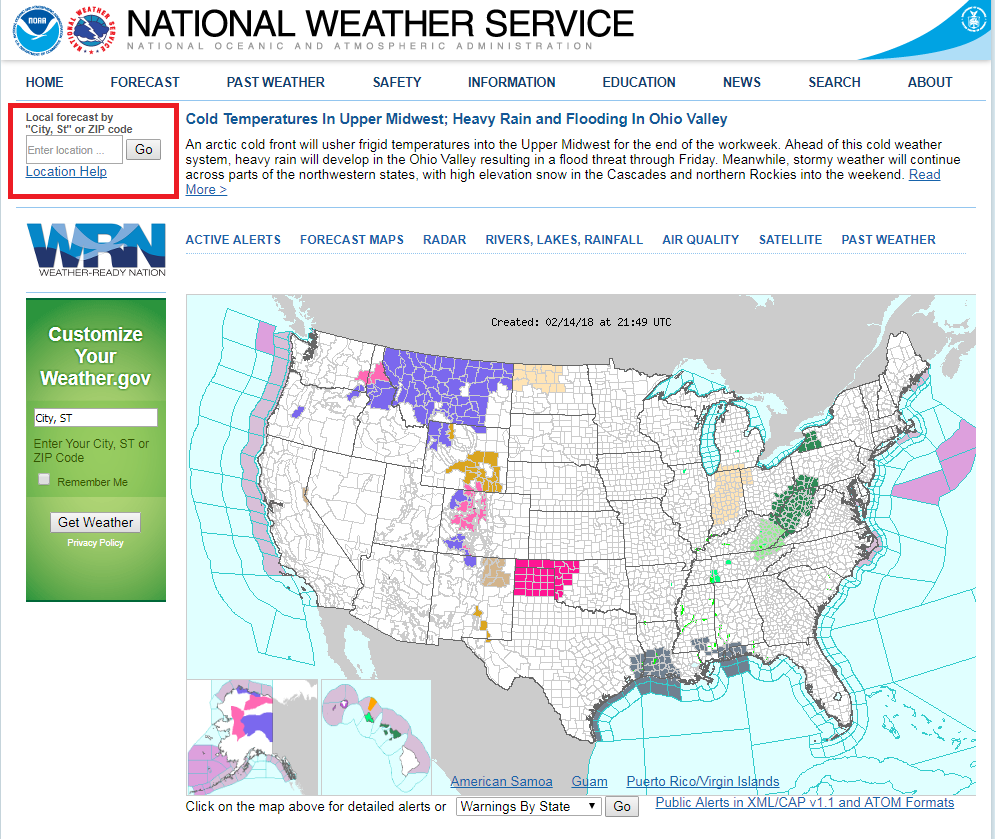Figure 1: Find a METAR station at weather.gov by inputting a zip code into the red box highlighted above.