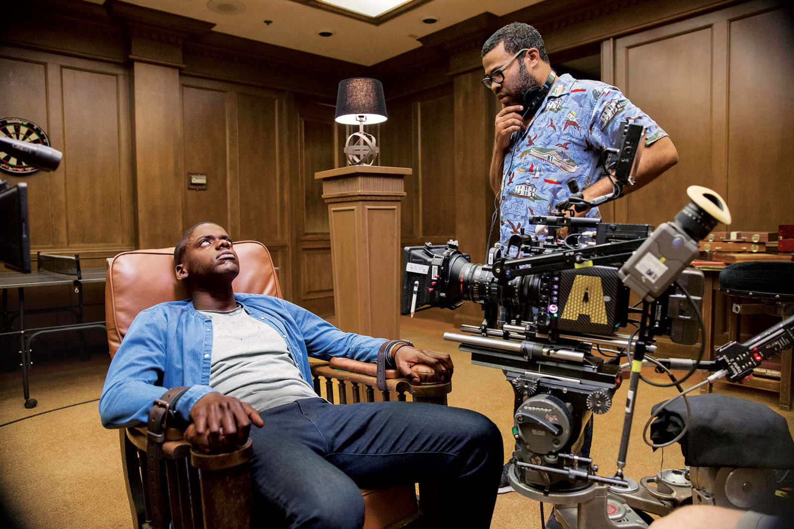 Daniel Kaluuya and Jordan Peele filming the game-room scene of Get Out. - Justin Lubin/courtesy of Universal Pictures (taken from Vulture)
