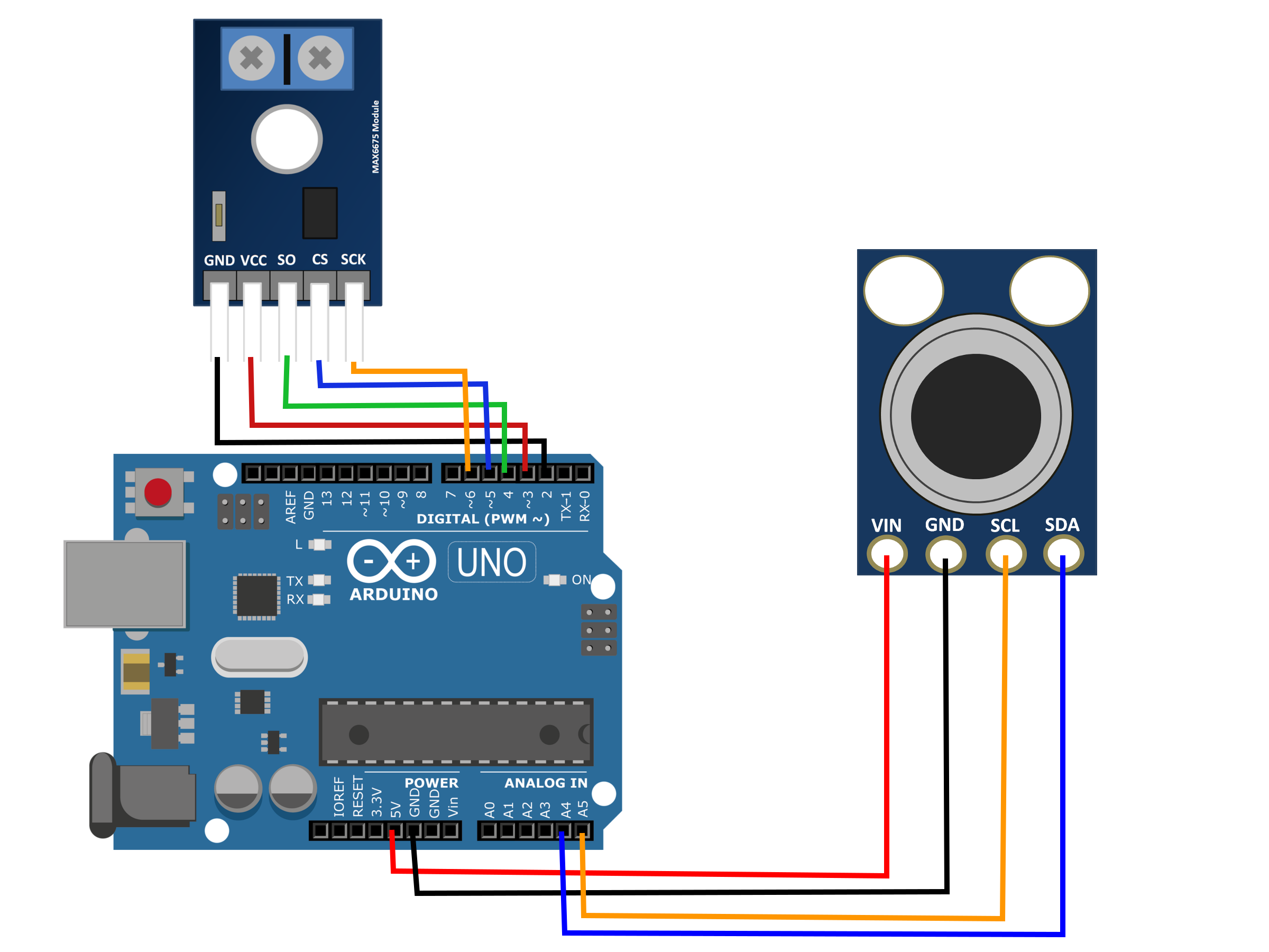 Figure 2:  Wiring diagram for IR thermometer and thermocouple to Arduino Uno.