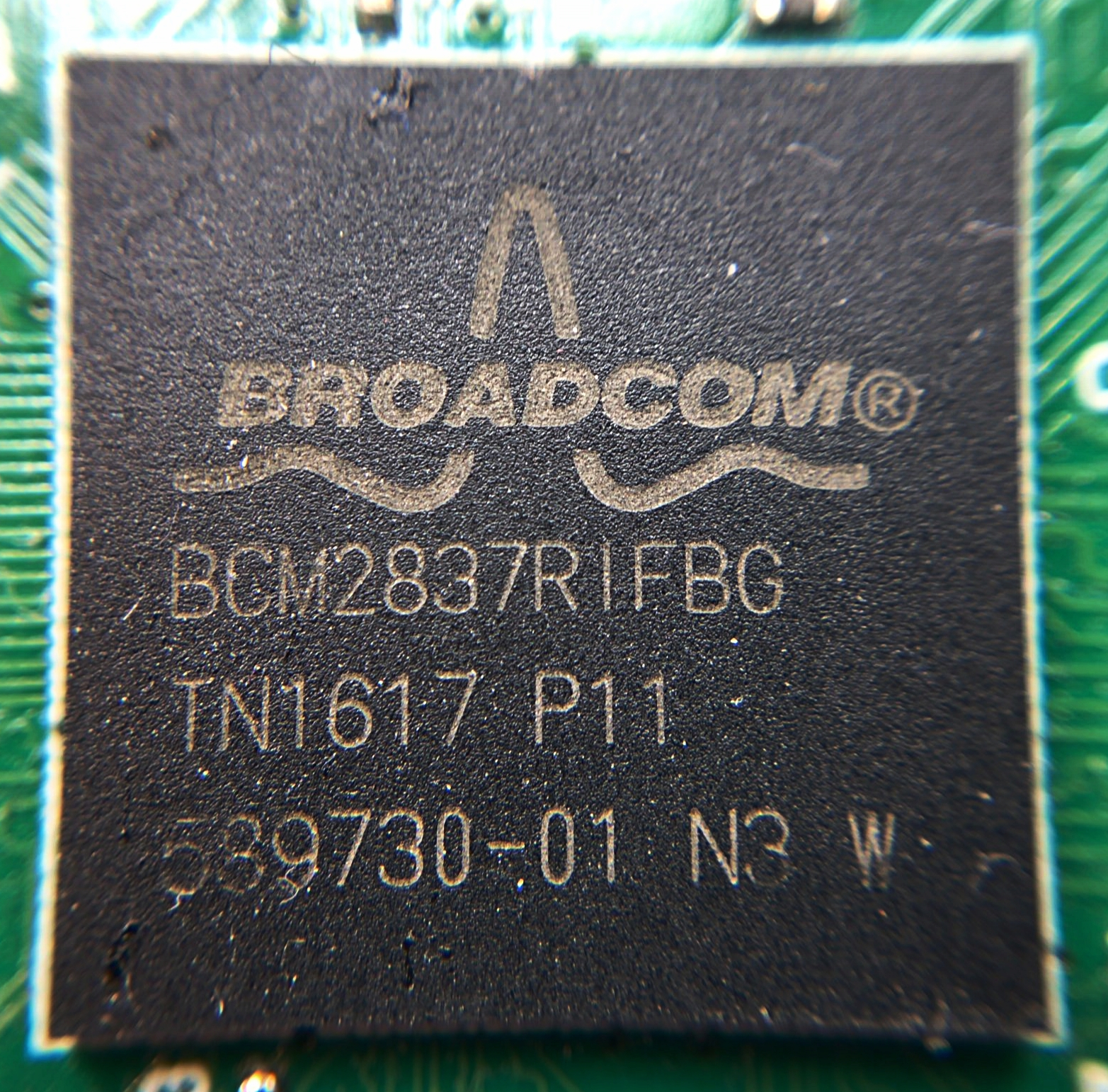 Figure 1:  The Raspberry Pi's main chip: Broadcom's BCM2837.