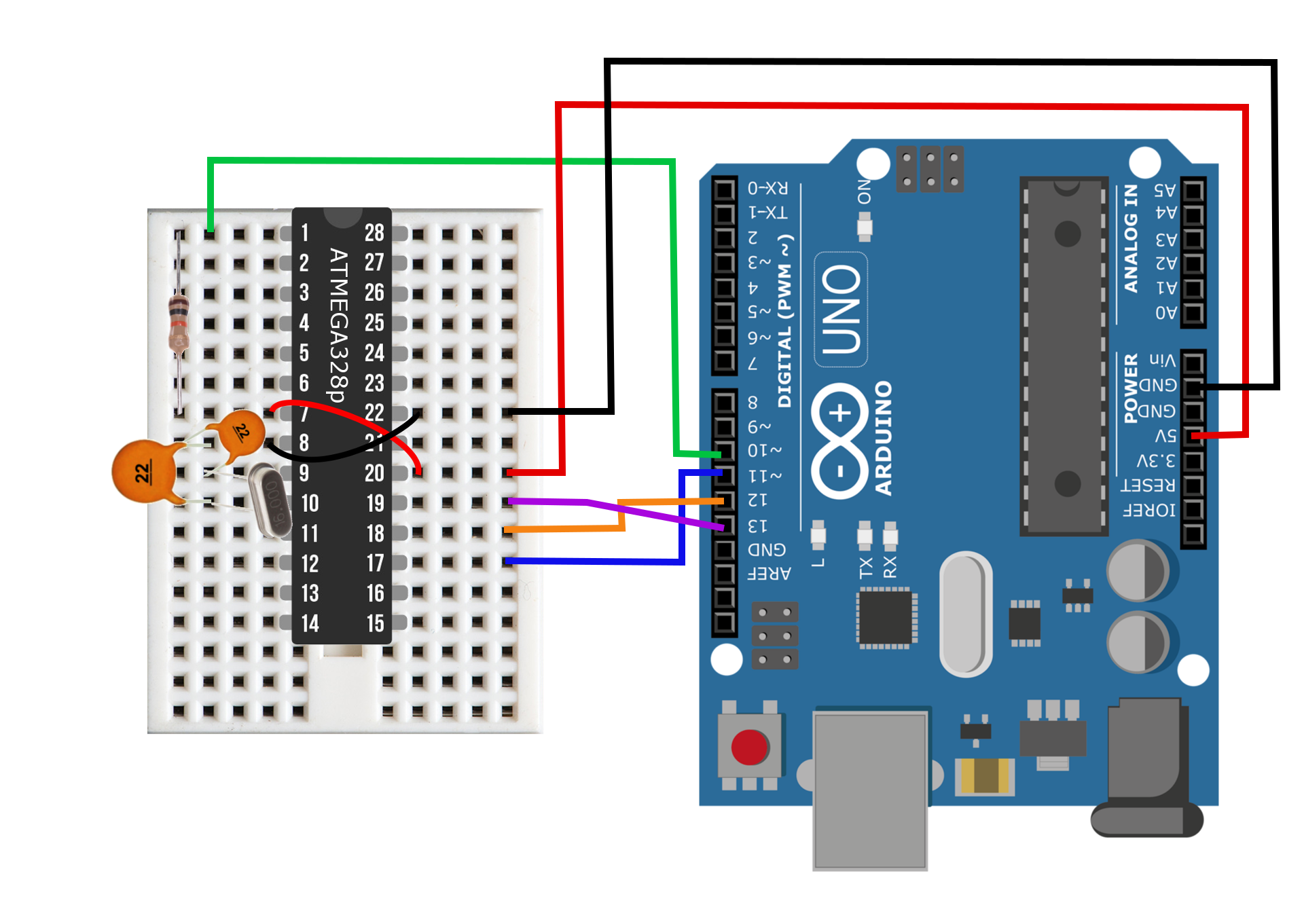 Figure 3:  Arduino Uno as ISP wiring diagram for burning the Arduino bootloader to the ATmega breadboard.
