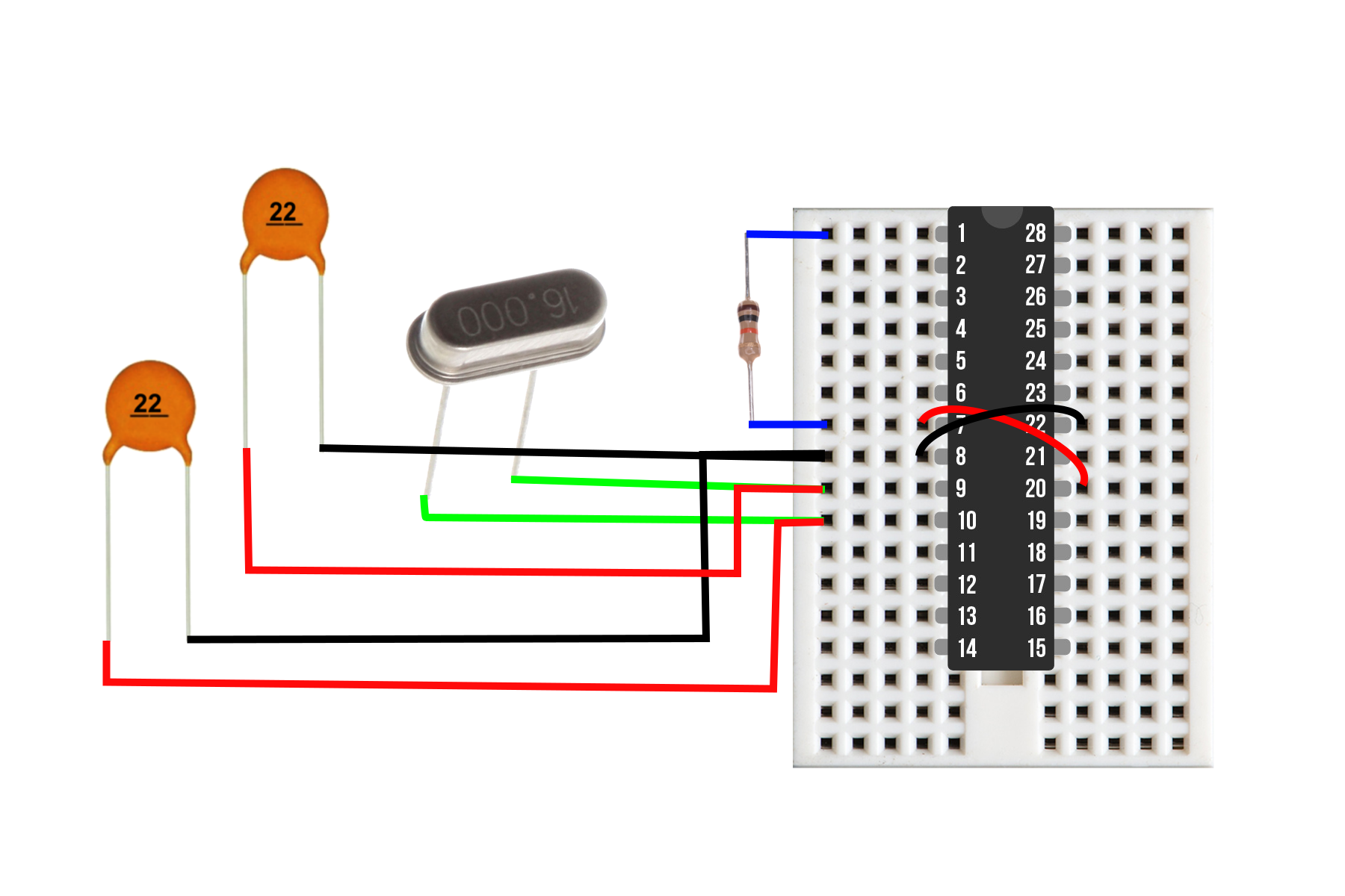 Figure 1:  Component wiring diagram consisting of the dual 22 pf capacitors, 16 MHz crystal oscillator, 10 kOhm resistor, and ATmega328p chip. These components create a low-cost Arduino board that will be integrated into the Internet of Things (IoT). The total component cost is less than $3.