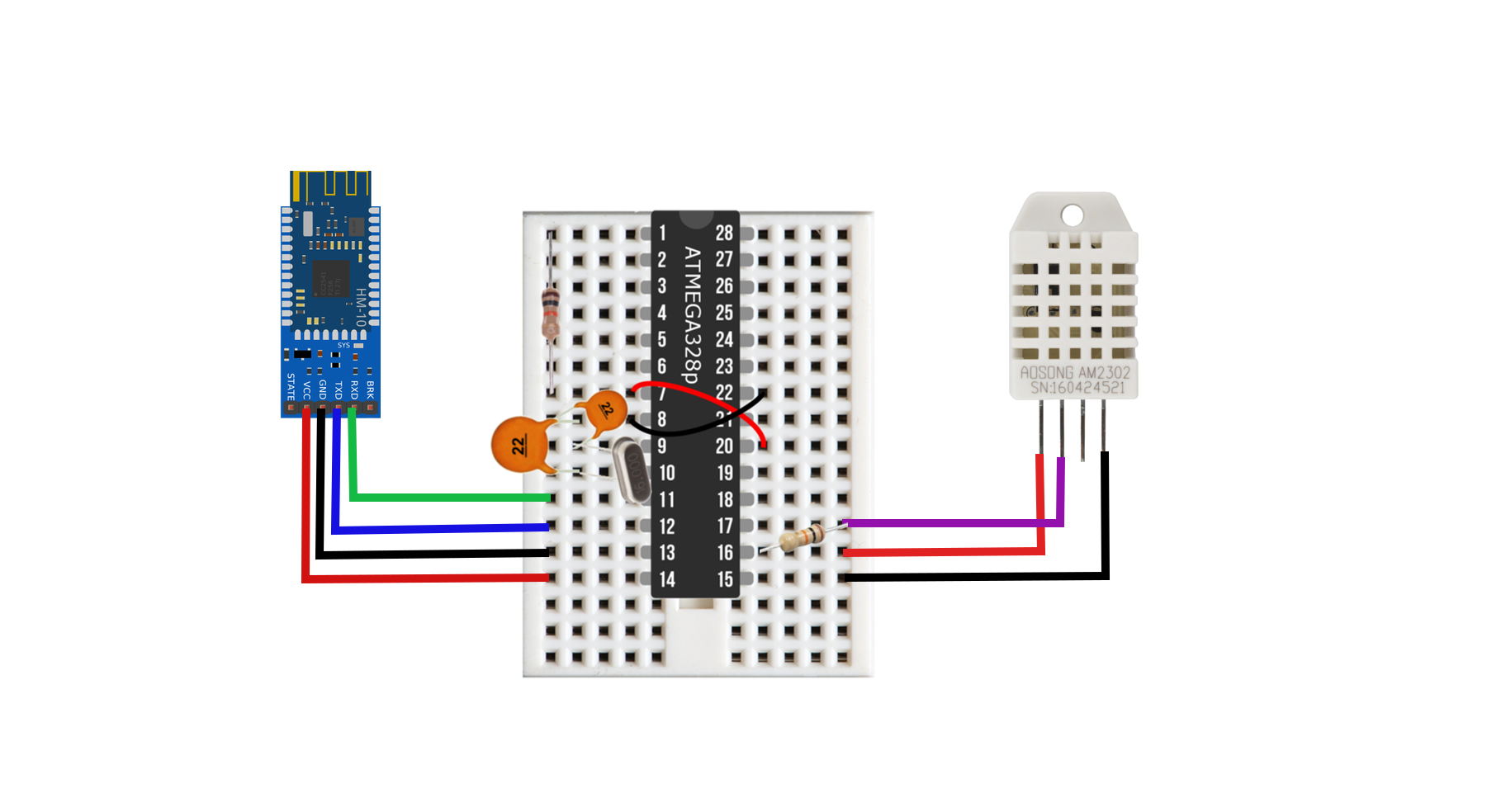 Wiring diagram for the breadboard Arduino DHT22 Bluetooth node. With this wiring configuration, the node is capable of sleeping at micro-amp currents, reading temperature data, and then transmitting it via Bluetooth. Hm-10 module drawing was found  here  at Arduibots.wordpress.com.